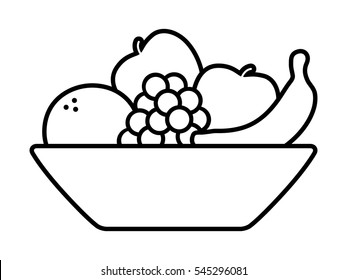 Bowl of fruit / fruits with orange, banana, grapes and apples line vector art icon for apps and websites