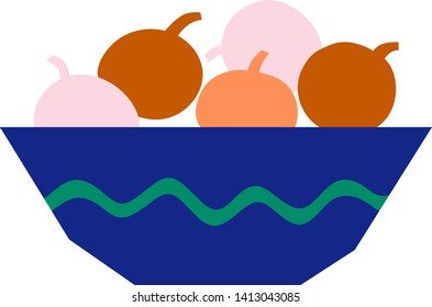 Bowl of fruit geometric illustration isolated on background