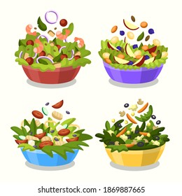 Bowl fruit, vegetable salad. Bowl fruit. Green and vegan lifestyle. Fruit salad. Vegetable salad Bowl fruit. Plate of vegetable food. Cartoon. Eco-friendly nutrition. Healthly food vector illustration