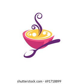 bowl full of hot, home made soup, vector logo, symbol, emblem