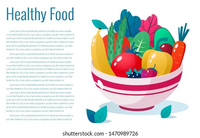 Bowl full of vegetables, fruits and berries vector illustration. Healthy lifestyle concept. Healthy eating.