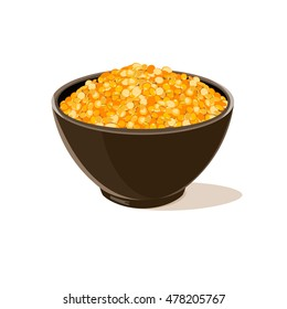 Bowl full of yellow lentils. Vector illustration.
