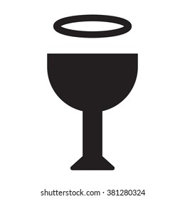 Bowl with halo, holy grail flat vector icon, black color on white background