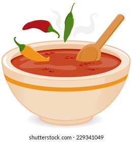 Bowl of hot chili soup. Vector illustration