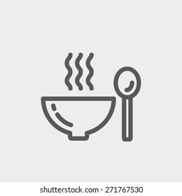 Bowl of hot soup with spoon icon thin line for web and mobile, modern minimalistic flat design. Vector dark grey icon on light grey background.