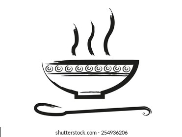 Bowl of Hot Soup with spoon Line Art. Icon isolated on white Backdrop. Editable EPS10 Vector and jpg illustration.