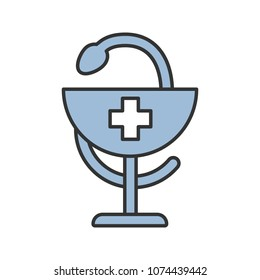 Bowl of Hygeia color icon. Pharmacy. Isolated vector illustration