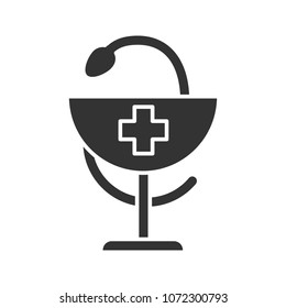 Bowl of Hygeia glyph icon. Pharmacy. Silhouette symbol. Negative space. Vector isolated illustration