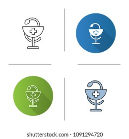 Bowl of Hygeia icon. Pharmacy. Flat design, linear and color styles. Isolated vector illustrations