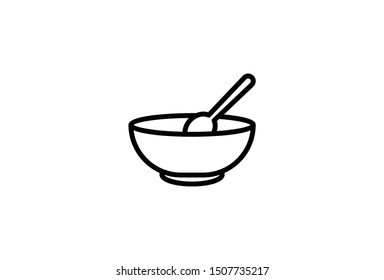 Bowl icon line symbol. simple design isolated soup element in trendy style