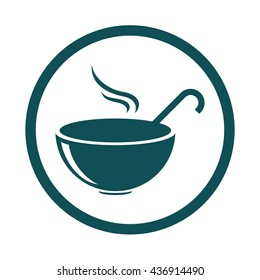 Bowl with ladle / kitchen spoon / food icon / circle / button / vector illustration