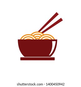 Bowl of noodle vector illustration on isolated background. Noodle icon, noodle