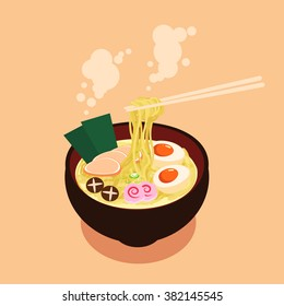 Bowl of Noodles with Chopsticks vector
