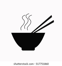 Bowl of noodles with a pair of chopsticks icon