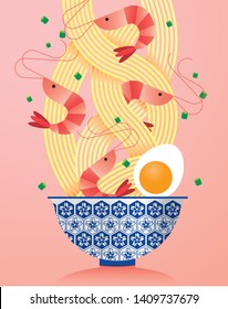 a bowl of prawn/ seafood noodles illustration/vector