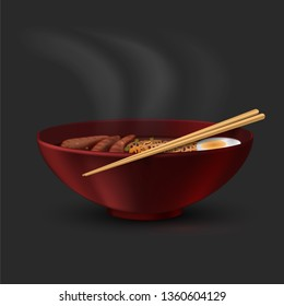 Bowl with ramen and chopsticks. Eastern cuisine. Japanese soup
