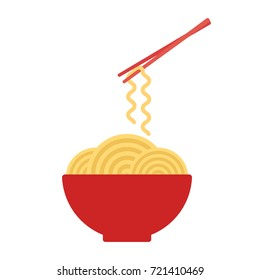 Bowl with ramen noodles. Chopsticks holding noodle. Korean, Japanese, Chinese food. Vector illustration
