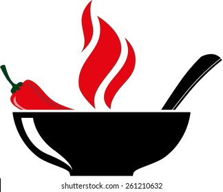 Bowl with red hot chili pepper and burning soup. Vector illustration