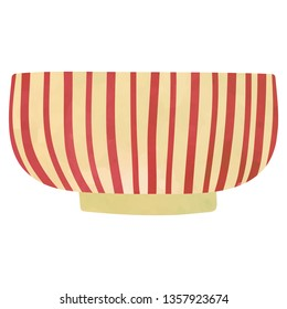 Bowl with red stripes. Cartoon clip art illustration on white background. Watercolour imitation.