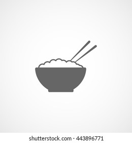Bowl With Rice And Chopsticks Flat Icon On White Background
