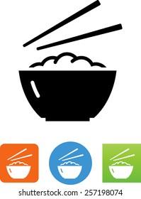 Bowl of rice with chopsticks symbol