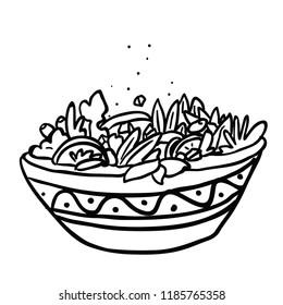 bowl of salad hand drawn cartoon illustration doodle isolated on white