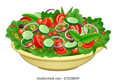 Bowl of salad on a white background