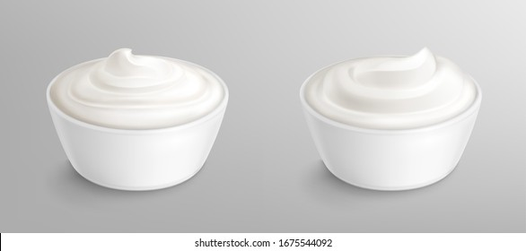 Bowl with sauce, cream, mayonnaise or yogurt. White porcelain cup with fresh dairy product, creamy cheese, sour or sweet swirl mousse with shadow isolated on background, realistic vector illustration