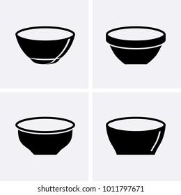 Bowl Sauce for mayonnaise, ketchup, yogurt and cream Icons. Vector set