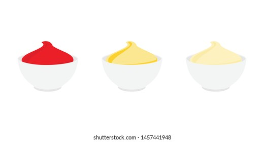 Bowl with sauce set isolated on white background. Tomato ketchup, sour cream, mustard and mayonnaise