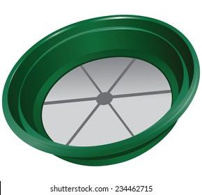 Bowl for sifting gold. Vector illustration.