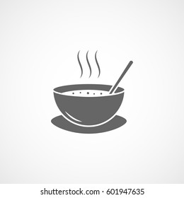 Bowl With Soup And Spoon Flat Icon On White Background