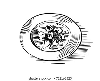 Bowl of soup. Vector line art drawing in engraved style