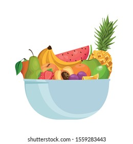 bowl with tropical fruits over white background, vector illustration