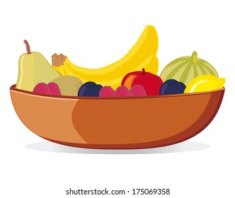 Bowl with various fruit (vector)