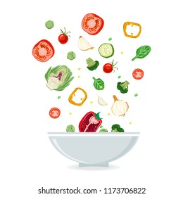 Bowl of vegetable salad with peper, tomato, onion and cucumber . Healthy eating.
