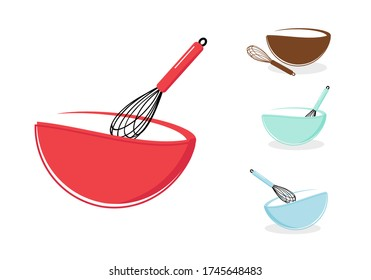 Bowl and whisk isolated on white background vector illustration. Cute sign or logo for bakery products. Cartoon style.
