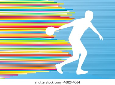 Bowler background bowling vector abstract illustration with colorful stripes on blue