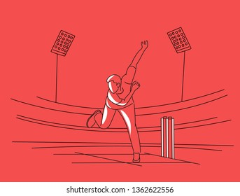 Bowler bowling in cricket championship sports. Line art vector Design.