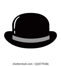 Bowler Hat Flat Icon. Vector Illustration.