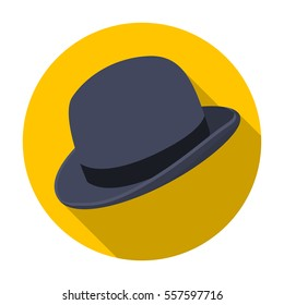 Bowler hat icon in flat style isolated on white background. Hipster style symbol stock vector illustration.