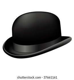 Bowler hat isolated on white. Vector illustration.