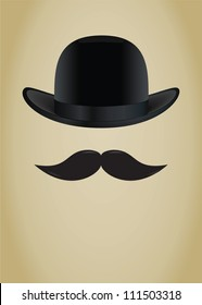 Bowler hat and moustache. Vector illustration