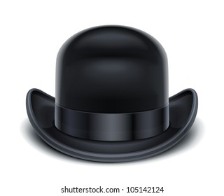 bowler hat vector illustration isolated on white background EPS10. Transparent objects and opacity masks used for shadows and lights drawing