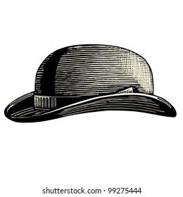 Bowler Hat - vintage engraved illustration -  Catalog of a French department store - Paris 1909