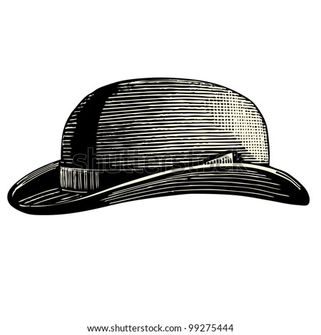 e0ade08bc06a3 Bowler Hat - vintage engraved illustration - Catalog of a French department  store - Paris 1909 - Vector