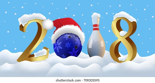 Bowling 2018 New Year sign with bowling ball and skittle on snowing background. Vector New Year illustration.