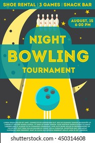 Bowling ad poster.  Vector flyer for night bowling tournament with pins and ball on black background. Flat style. Can be used for ad, promotion. Layout template in A4 size.