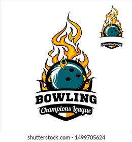 Bowling badge champions league logo vector