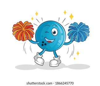 bowling ball cheerleader cartoon. cartoon mascot vector